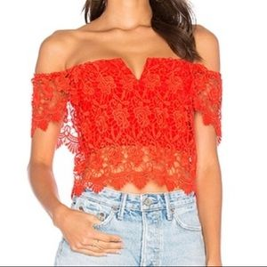 YUMI KIM Red Lace Crop Top MEDIUM